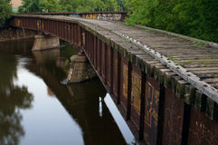 Abandoned Railroad Bridge at Nicollet Island Royalty Free Stock Photography
