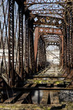 Abandoned Railroad Bridge - Pennsylvania. A view of an abandoned truss bridge for the Pennsylvania Railroad over the Shenango River in New Castle, Pennsylvania royalty free stock images