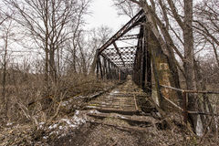 Abandoned Railroad Bridge - Pennsylvania. A view of an abandoned truss bridge for the Pennsylvania Railroad over the Shenango River in New Castle, Pennsylvania stock images