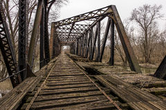 Abandoned Railroad Bridge - Pennsylvania. A view of an abandoned truss bridge for the Pennsylvania Railroad over the Shenango River in New Castle, Pennsylvania stock photography