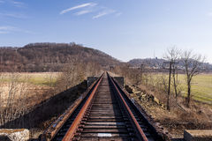 Abandoned Railroad - Track View. A view of an abandoned railroad in southern Ohio on a sunny winter afternoon stock photo