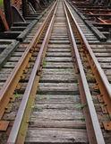 Abandoned railroad tracks on bridge. Royalty Free Stock Images