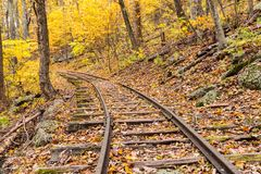Abandoned Railroad Tracks. In the forest of Virginia during Autumn stock photos