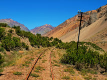 Abandoned rails in South America. Abandoned rails in the wilderness of Argentina, South America royalty free stock images