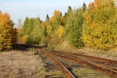 Abandoned railway in autumn forest. Leaf fall, road to nowhere Stock Photography