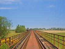 Abandoned railway bridge in the landscape of Mecklenburg-Western Pomerania, Germany.  Royalty Free Stock Photography