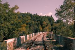 Abandoned Railway Bridge in the nature Royalty Free Stock Images