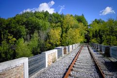 Abandoned Railway Bridge in the nature Stock Photo