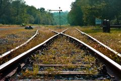 An abandoned railway in the Italian countryside royalty free stock photos