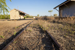 Abandoned Railway Line and Station House Stock Image