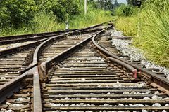 Abandoned railway tracks in the countryside, Guilin, Guangxi Pr Royalty Free Stock Photos
