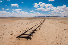 Abandoned railway tracks in the desert, Namibia stock photography