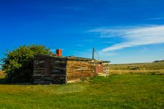 Abandoned ranch house on the prairies. Grasslands national Park, Saskatchewan, Canada Stock Image