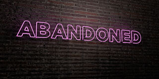 ABANDONED -Realistic Neon Sign on Brick Wall background - 3D rendered royalty free stock image Royalty Free Stock Images
