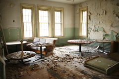 Abandoned recreation room. Stock Photo