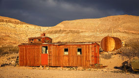 Abandoned Red Caboose in Rhyolite Ghost Town Royalty Free Stock Photo