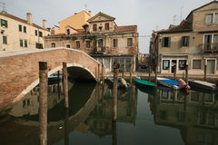 Abandoned renaissance building in old city of Chioggia Royalty Free Stock Images