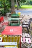 Abandoned retro table setting outside Stock Photo