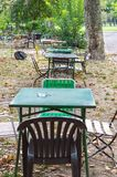 Abandoned retro table setting outside Stock Images