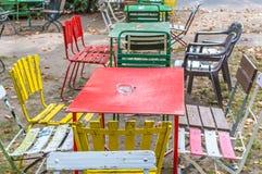 Abandoned retro table setting outside Royalty Free Stock Photography