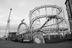 Abandoned Rides on Brighton Pier black white royalty free stock image