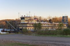 Abandoned Riverboat on Mississippi River in Prairie du Chien royalty free stock photo
