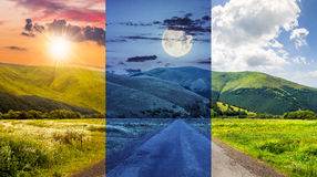 Abandoned road through meadows in mountain. Day and night collage of composite landscape with abandoned asphalt road rolls through meadows with flowers going to Stock Image
