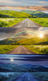 Abandoned road through meadows in mountain. Day and night collage of composite landscape with abandoned asphalt road rolls through meadows with flowers going to Stock Photography