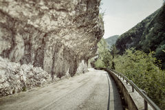 Abandoned road in the mountains stock images