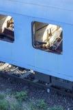 Abandoned romanian train in depot Stock Photos