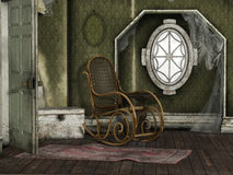 Abandoned Room. 3D render of an abandoned room with torn curtains and rocking chair Royalty Free Stock Photo