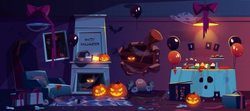 Abandoned room with Halloween party decoration