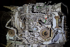 Abandoned rostade behållaredieselmotorn Royaltyfri Bild
