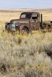 Abandoned rostade lastbilen för den 40-taleraChevrolet lantgården i fältet, påsk Arkivbilder