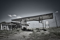 Abandoned Route 66 Gas Station. A shell of a gas station remains on old Route 66 in Texas royalty free stock photo
