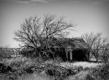 Abandoned Route 66 Homestead. This long ago abandoned homestead sits beside the Mother Road Route 66 in the ghost town of Cuervo, New Mexico, USA Royalty Free Stock Image