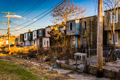 Abandoned row houses in Baltimore, Maryland. Royalty Free Stock Photo