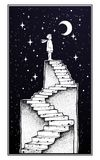 Abandoned ruin stairway with a boy looking at moon. Abandoned ruin stairway to the night, with a boy looking at moon sky. Symbol of childhood, imagination Stock Illustration