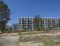 Abandoned ruined block of flats, former Russian soldier houses at uranium mining city Ralsko, Czech Republic, former royalty free stock photos