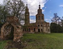 Abandoned ruined Church in Russia. Kolentsy Village, Ryazan stock image