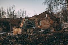 Abandoned ruined house. stock photos