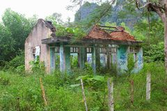 Abandoned ruin house overgrown jungle, Phong Nha, Vietnam stock image