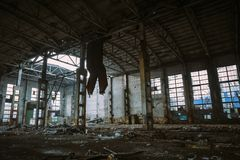 Abandoned ruined industrial factory building, ruins and demolition concept Royalty Free Stock Photo