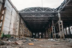 Abandoned ruined industrial factory building, ruins and demolition concept Royalty Free Stock Photos