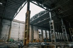 Abandoned ruined industrial factory building, ruins and demolition concept Royalty Free Stock Photography