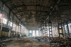 Abandoned ruined industrial factory building, ruins and demolition concept Royalty Free Stock Images