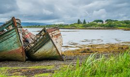 Abandoned and ruined ships along Isle of Mull coastline. royalty free stock photos