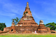 Abandoned Ruins of Ancient Traditional Siamese Buddhist Stupa or Chedi in The Historic City of Ayutthaya, Thailand Stock Image