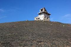 Abandoned ruins of a house against the blue sky Royalty Free Stock Images