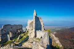 Abandoned ruins of medieval Plavecky castle in autumn. Abandoned ruins of medieval Plavecky castle  in autumn Royalty Free Stock Photos